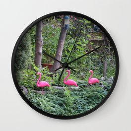 Flamingos by the water Wall Clock