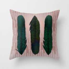 Powder pink and green feathers Throw Pillow