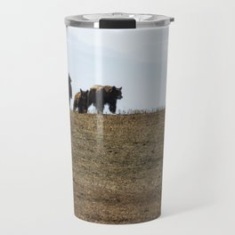 Standing Cinnamon Black Cub with mother and sibling at Pryor Mountain Travel Mug