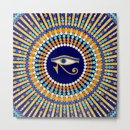 Eye of Thoth with Mandala Inspired By Ancient Egyptian Necklace (lapis lazuli blue) background) Metal Print