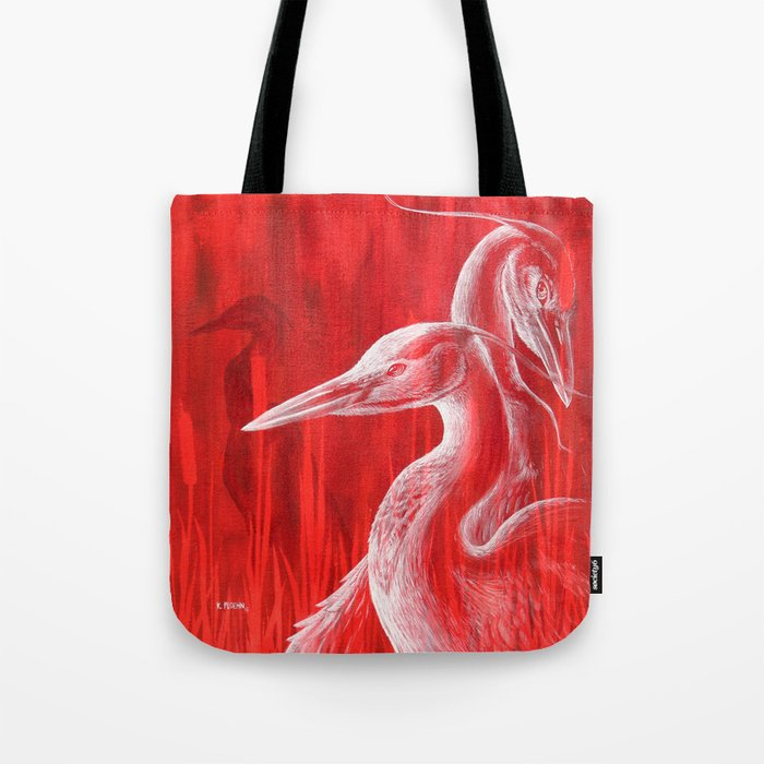 Red Blue Herons  Tote Bag