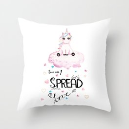 Cute Unicorn Sitting on Cloud Throw Pillow