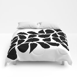 Small Abstract Black & White Foliage Pattern - Mix and Match with Simplicity of Life Comforters