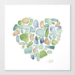 Heart of the Sea, sea glass watercolor Canvas Print