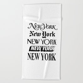 I Heart New York City Black and White New York Poster I Love NYC Design black-white home wall decor Beach Towel