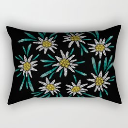 Embroidered Flowers on Black Circle 09 Rectangular Pillow