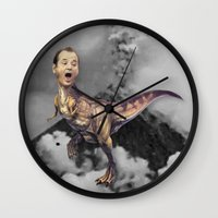 trex Wall Clocks featuring Bill Murray TRex by Kalynn Burke