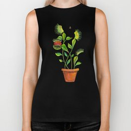 Venus Fly Trap Watercolor Biker Tank