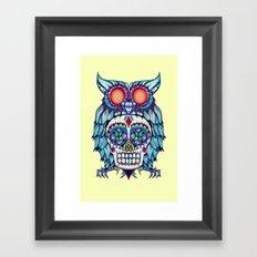 Sugar Skull Owl Day Of The Dead Framed Art Print