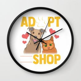 Adopt Don't Shop Cat & Dog Wall Clock