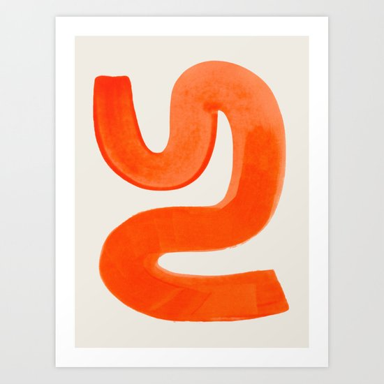 Mid Century Modern Abstract Minimalist Abstract Vintage Retro Orange Watercolor Brush Strokes by enshape