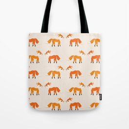 Cute Kissing Fox Couple Illustration with Light Background Tote Bag