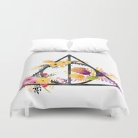 deathly hallows Duvet Covers featuring Life and Deathly Hallows by Snazzy Sisters