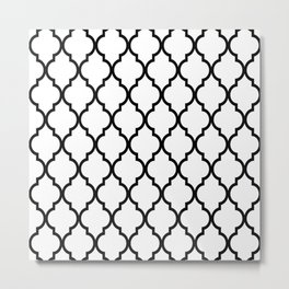 Classic Quatrefoil Lattice Pattern 321 Black and White Metal Print