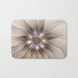Joyful Flower, Abstract Fractal Art Bath Mat