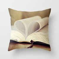 bible Throw Pillows featuring Love Bible by Vintage Rain Photography