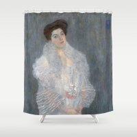 gustav klimt Shower Curtains featuring Portrait of Hermine Gallia by Gustav Klimt by Palazzo Art Gallery