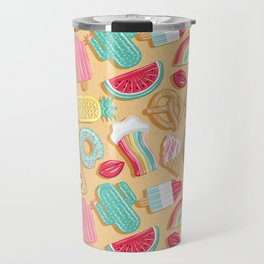 Epic pool floats top view // sand background Travel Mug