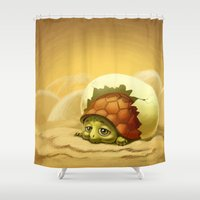 sea turtle Shower Curtains featuring turtle by Antracit