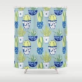 Chinoiserie Cactus Garden Shower Curtain