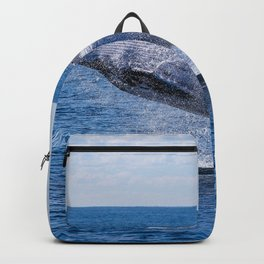 GRAY WHALE JUMPING ON SEA AT DAYTIME Backpack