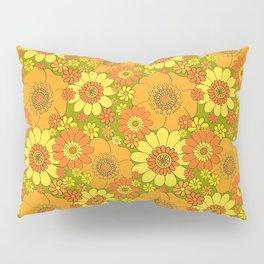 Pushing daisies orange with green base Pillow Sham