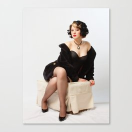 """Fur Coat #1"" - The Playful Pinup - Sexy Vintage Pinup in Fur Coat by Maxwell H. Johnson Canvas Print"