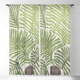 Summer Fern / Simple Modern Watercolor Sheer Curtain