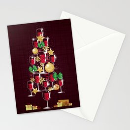 Happy Red Wine Tree Stationery Cards