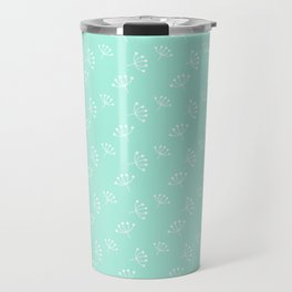 Seafoam Blue And White Queen Anne's Lace pattern Travel Mug