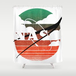 NASA Zen Sunset Classic Logo Graphic Tee Shower Curtain