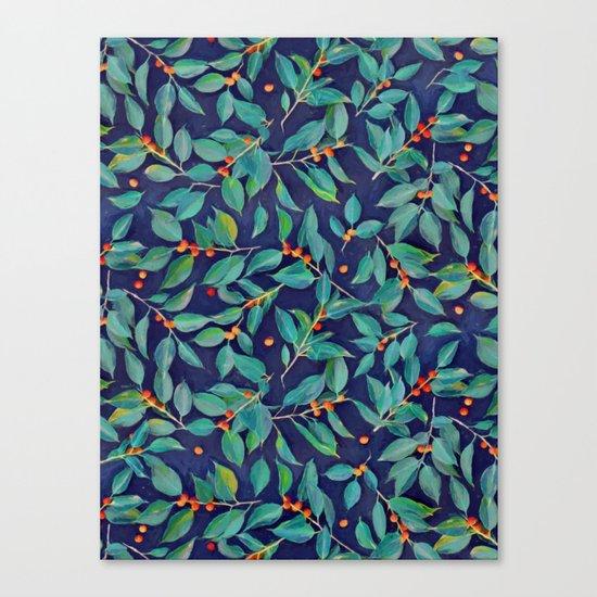 Leaves + Berries in Navy Blue, Teal & Tangerine Canvas Print