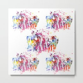 Elephants Splash Metal Print