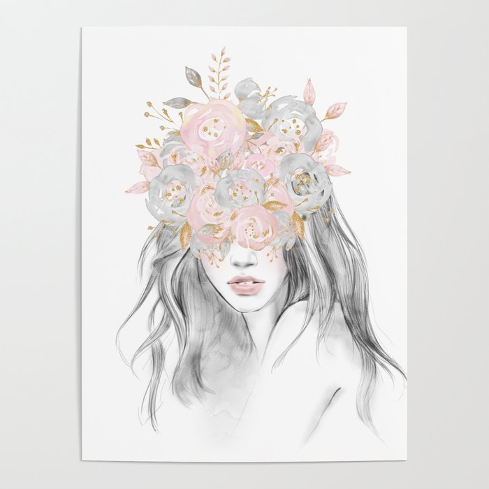 She Wore Flowers In Her Hair Rose Gold By Nature Magick Poster By Naturemagick