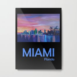 Retro Travel Poster Miami Florida Metal Print