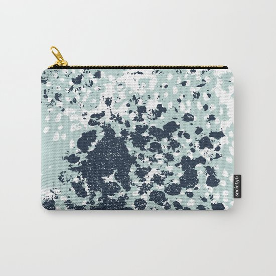 Textured mint and blue abstract painting dots pattern modern minimal art print Carry-All Pouch