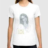 tina fey T-shirts featuring Illustration Tina Fey 'Talk to Food' by Katie Munro