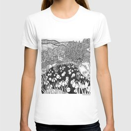 Zentangle Vermont Landscape Black and White Illustration T-shirt