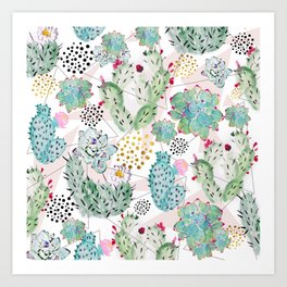 Modern triangles and hand paint cactus pattern Art Print