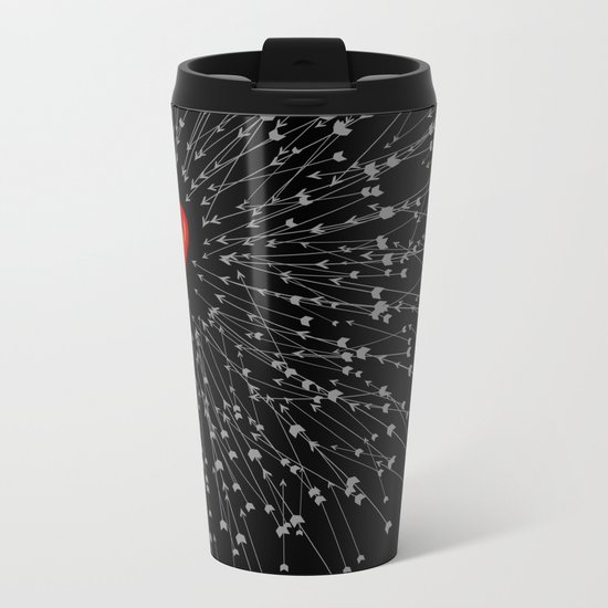 Heart&Arrows_BLACK Metal Travel Mug
