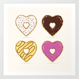 Heart Shaped Donuts Art Print