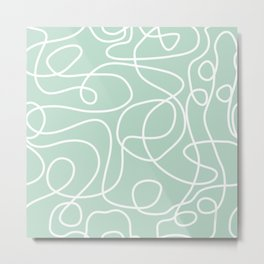 Doodle Line Art | White Lines on Mint Green Metal Print