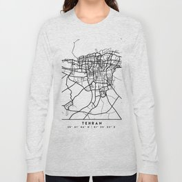 TEHRAN IRAN BLACK CITY STREET MAP ART Long Sleeve T-shirt