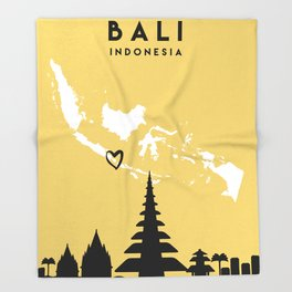 BALI INDONESIA LOVE CITY SILHOUETTE SKYLINE ART Throw Blanket