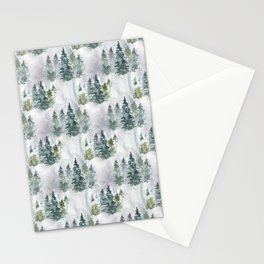 Watercolor forest green snow Christmas pine tree Stationery Cards