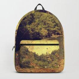 Vintage river landscape Backpack