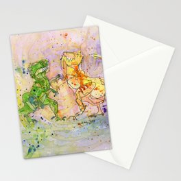T-Rex Fight Stationery Cards
