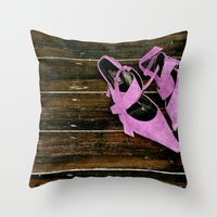 heels Throw Pillows featuring pink heels by Photofairy