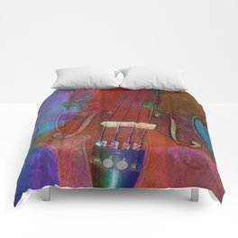 Violin Abstract Two Comforters