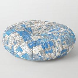 Multi Geometrical Pattern Faded Blues Floor Pillow